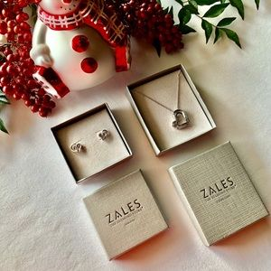 Zales 925 Sterling Silver Necklace/Earrings